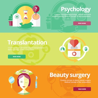 Set of   concepts for sexology, plastic surgery, heart treatment. medical concepts for web s and print materials.