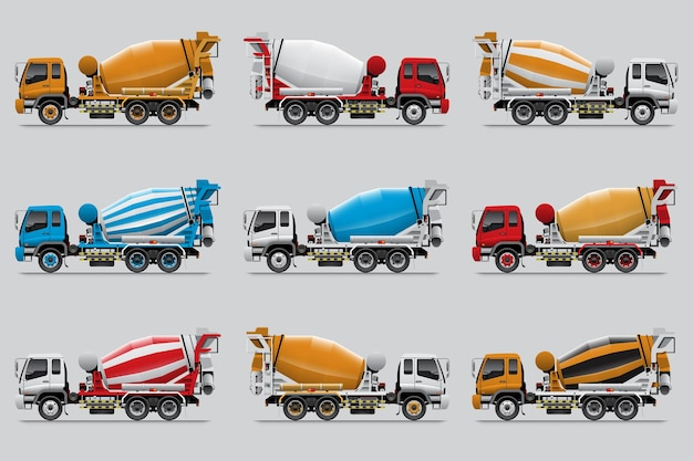 Set of concrete mixer truck, isolated on grey background.