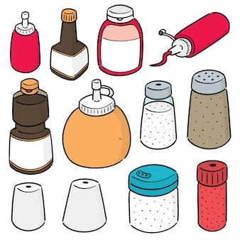 Set of condiment bottles