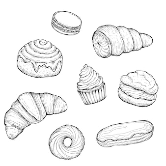 Set of confectionery. hand drawn   illustration. monochrome black and white ink sketch. isolated