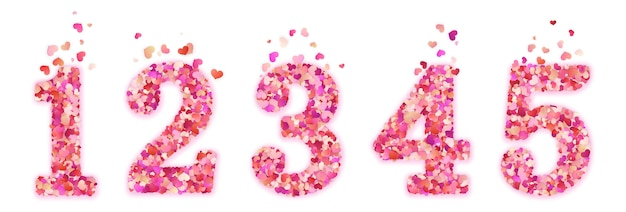 Set of confetti numbers. isolated on white background.