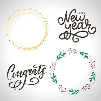 Set of congratulations lettering calligraphy
