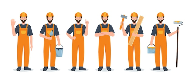 Set of construction builders with tools cartoon illustrations