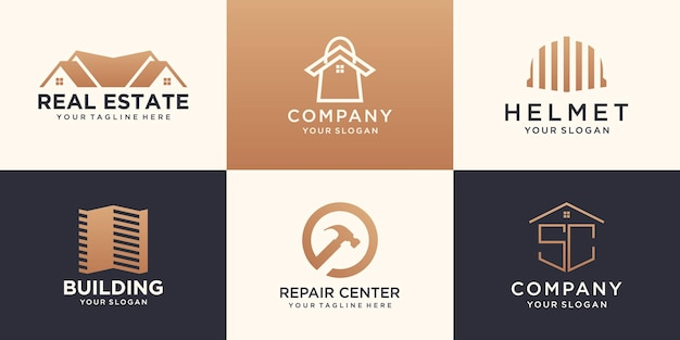Set of construction building logo design template