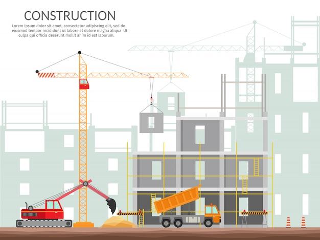 건설 요소 설정 집 건물 프로세스의 개념 벡터 격리 된 그림을 설정합니다.