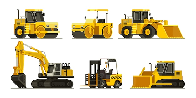 Set of construction heavy equipment and machinery