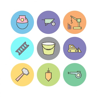 Set of construction icons isolated on white
