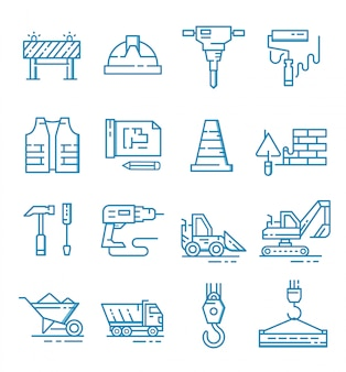 Set of construction icons with outline style