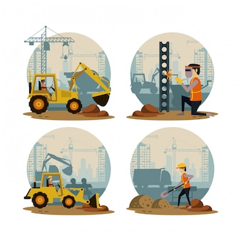 Set of under construction icons