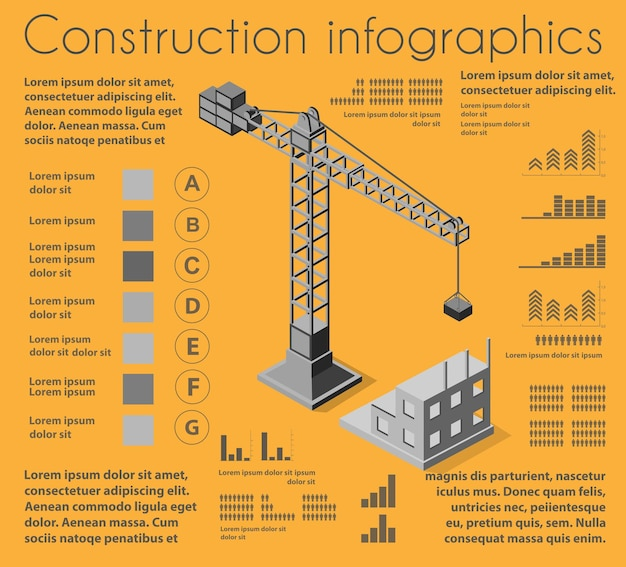 Set of construction infographics