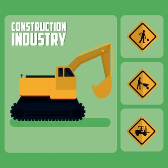 Set of construction roadsign icons