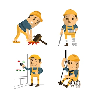 Set of construction worker, accident working, safety first, health and safety