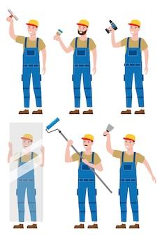 Набор строительных рабочих с аккумуляторной отверткой, листом стекла, кистью, валиком, инструментами штукатурного шпателя в спецодежде.