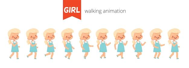 귀여운 소녀의 생성자 애니메이션 산책을 설정합니다. 애니메이션에 대한 걷는 아이의 포즈. 만화 평면 벡터 일러스트 레이 션. 흰색 배경에 고립.