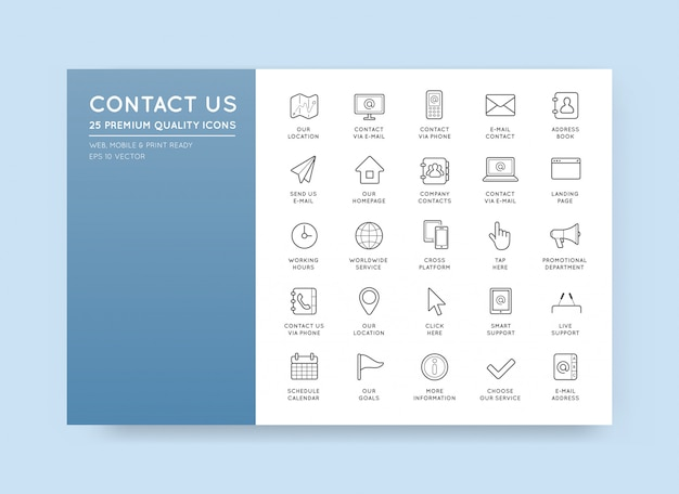 Set of contact us service icons assistance support