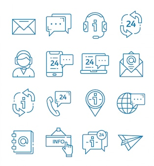 Set of contact us and support icons with outline style