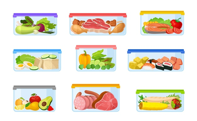 Set of containers with vegetables and meat