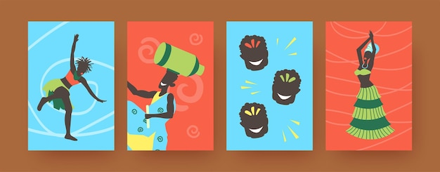 Set of contemporary art posters with african folk dancers.  illustration.