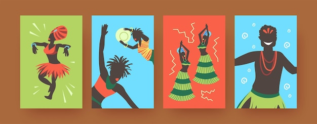 Set of contemporary art posters with african tribal dancers.  illustration.