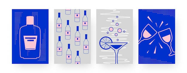 Set of contemporary art posters with alcohol bottles. margarita, clinking glasses illustration