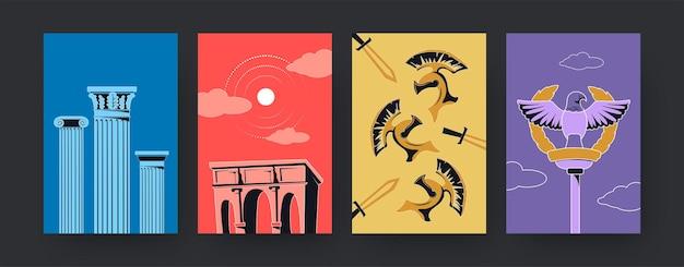 Serie di manifesti d'arte contemporanea con antichi simboli di roma. illustrazione.