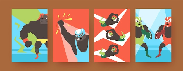 Set of contemporary art posters with angry mexican fighters.  illustration.