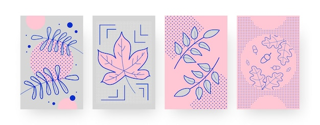 Set of contemporary art posters with autumn leaves and acorns. fallen foliage illustration