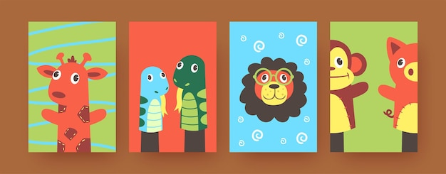 Set of contemporary art posters with cute hand sock animals