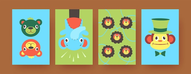 Set of contemporary art posters with cute hand sock toys