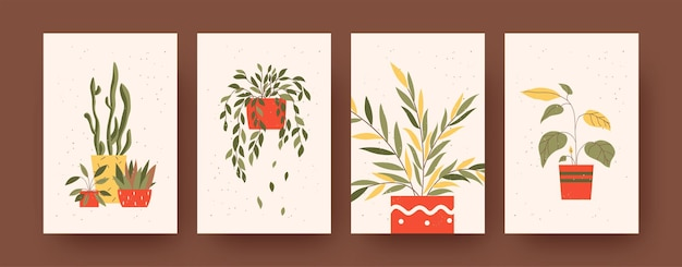 Set of contemporary art posters with floral and natural theme. vector illustration.  colorful collection of plants in pots