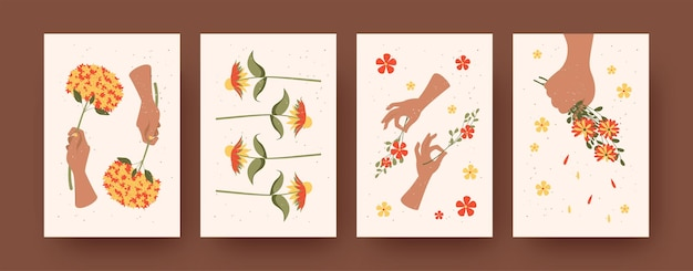 Set of contemporary art posters with flower arrangement theme. vector illustration.  hands holding blooming colorful wildflowers