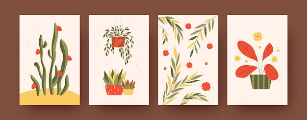 Set of contemporary art posters with garden theme. vector illustration.  collection of plants on stands and in floral pots