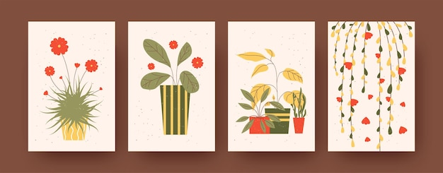 Set of contemporary art posters with indoor plants. illustration. collection of plants and flowers in colorful pots