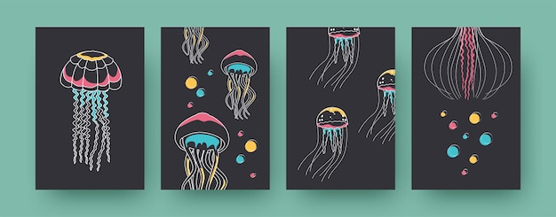 Set of contemporary art posters with jellyfish. medusas and tentacles vector illustrations in pastel colors