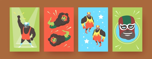 Set of contemporary art posters with mexican wrestler fighters.  illustration.