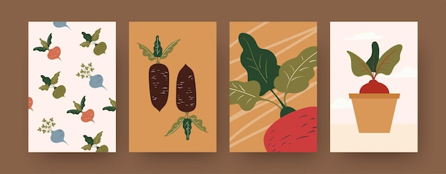 Set of contemporary art posters with root vegetables
