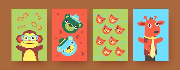 Set of contemporary art posters with soft hand sock toys