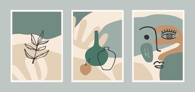 Set of contemporary art prints Premium Vector