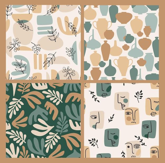 Set of contemporary art seamless patterns