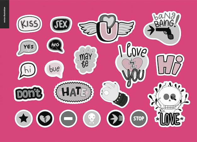 Set of contemporary girlie love letter logo