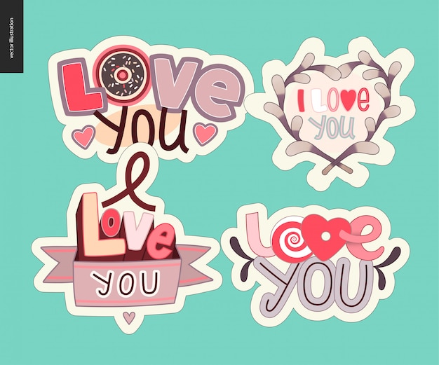 Set of contemporary girlie love you letter logo