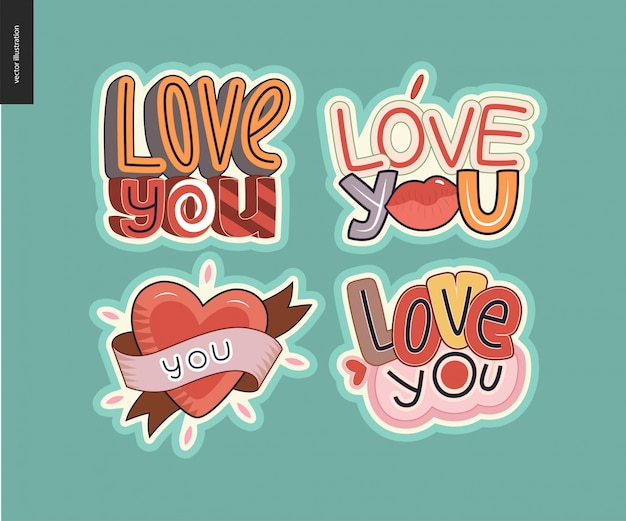 Set of contemporary girlie love you letter logo