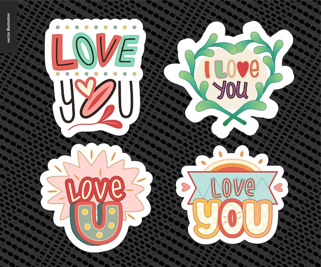 Set of contemporary girlie love you letter