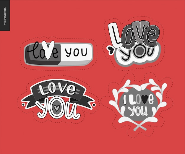 Set of contemporary girlie love you lettering