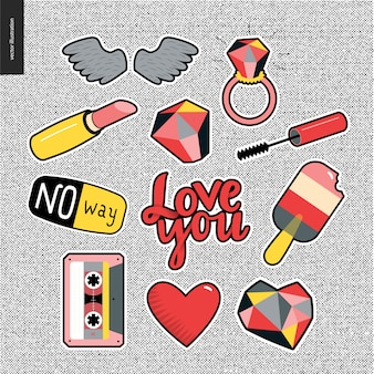 Set of contemporary girlish patches elements on denim background.