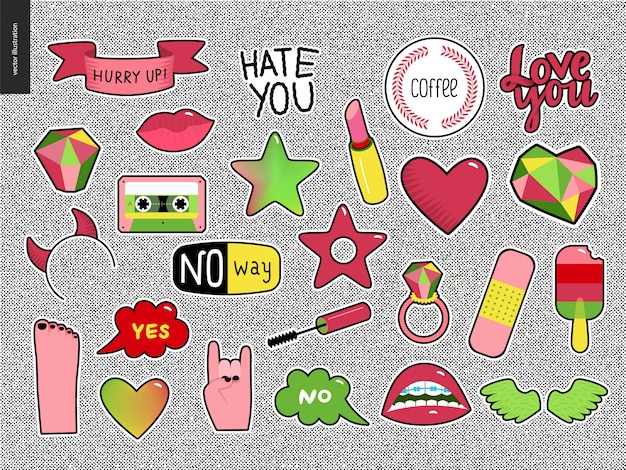 Set of contemporary girlish patches elements