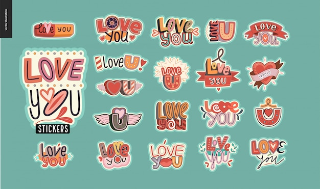 Set of contemporary love stickers