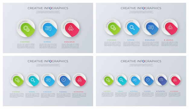 Set of contemporary minimalist infographic designs.