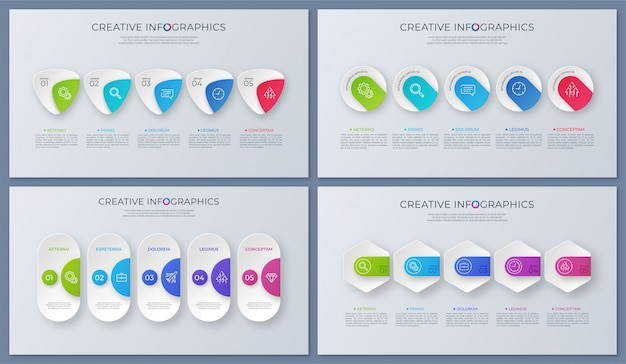 Set of contemporary vector infographic designs, template, charts