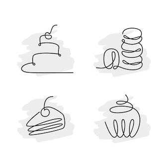 Set of continuous line art birthday cakes macaroon muffin vector illustration minimalism isolated on